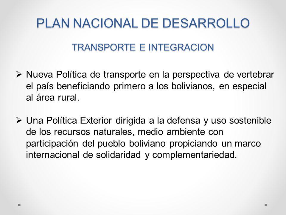 PLAN NACIONAL DE DESARROLLO TRANSPORTE E INTEGRACION