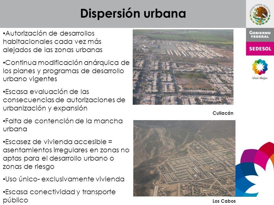Dispersión urbana Autorización de desarrollos habitacionales cada vez más alejados de las zonas urbanas.