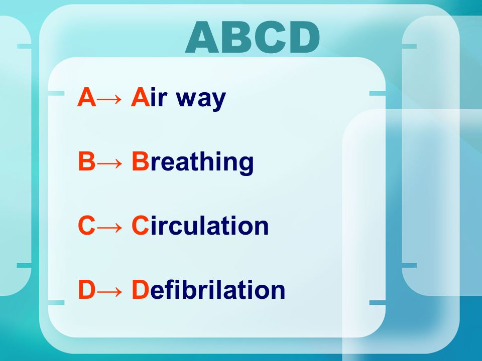 ABCD A→ Air way B→ Breathing C→ Circulation D→ Defibrilation