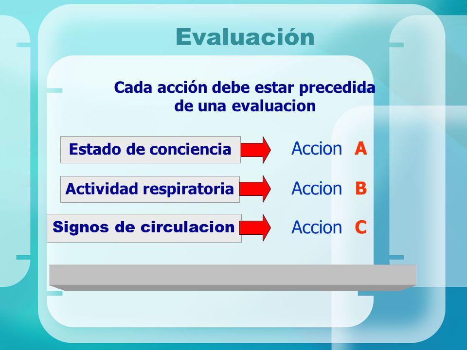 Cada acción debe estar precedida de una evaluacion