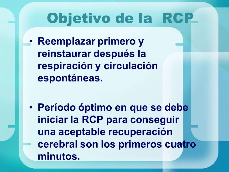 Objetivo de la RCP Reemplazar primero y reinstaurar después la respiración y circulación espontáneas.