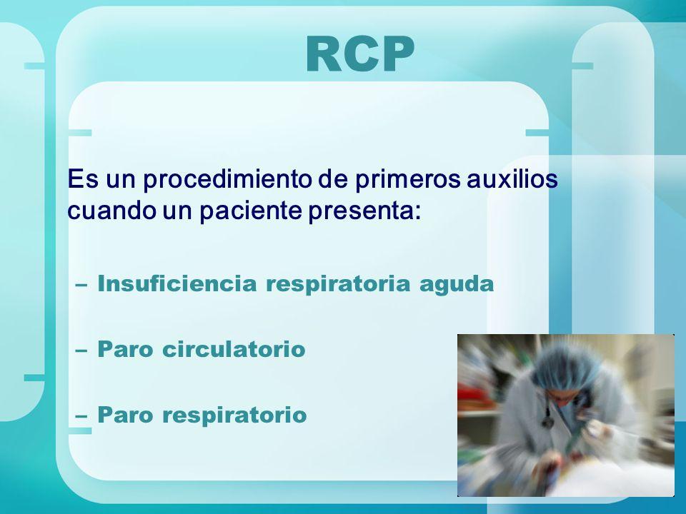 RCP Es un procedimiento de primeros auxilios cuando un paciente presenta: Insuficiencia respiratoria aguda.