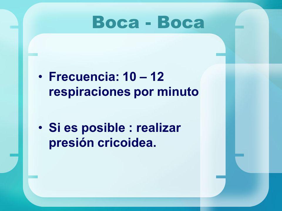 Boca - Boca Frecuencia: 10 – 12 respiraciones por minuto