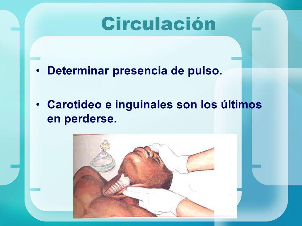 Circulación Determinar presencia de pulso.