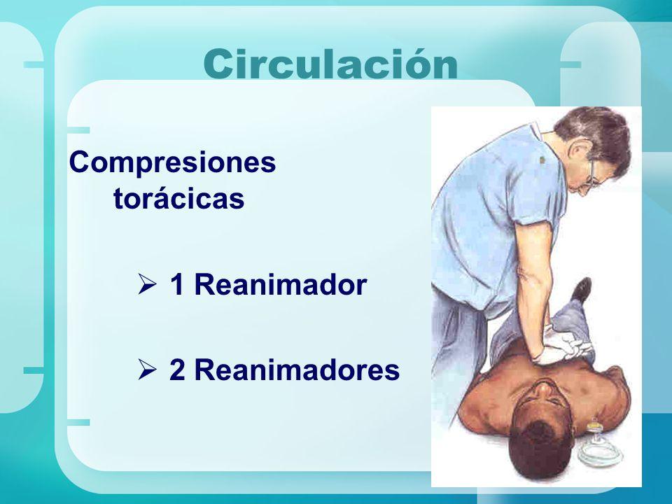 Circulación Compresiones torácicas 1 Reanimador 2 Reanimadores