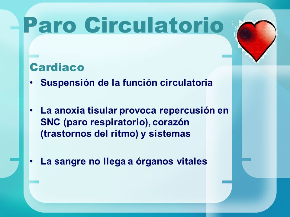 Paro Circulatorio Cardiaco Suspensión de la función circulatoria