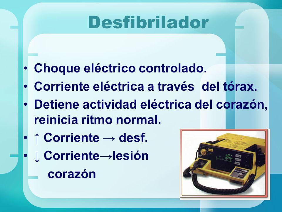 Desfibrilador Choque eléctrico controlado.