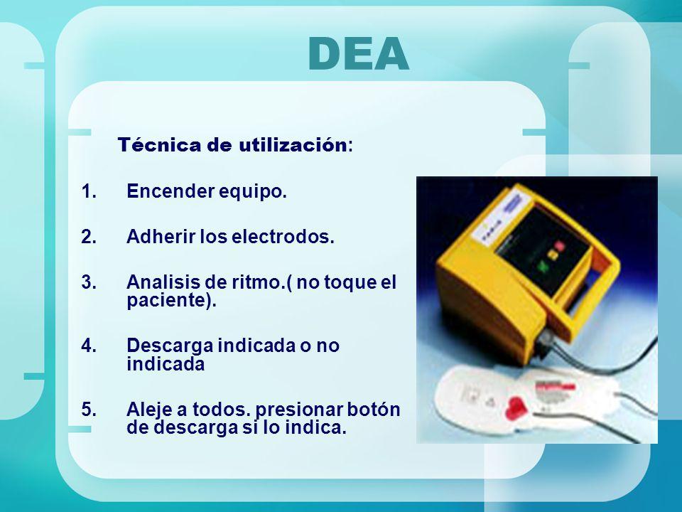 DEA Técnica de utilización: Encender equipo. Adherir los electrodos.