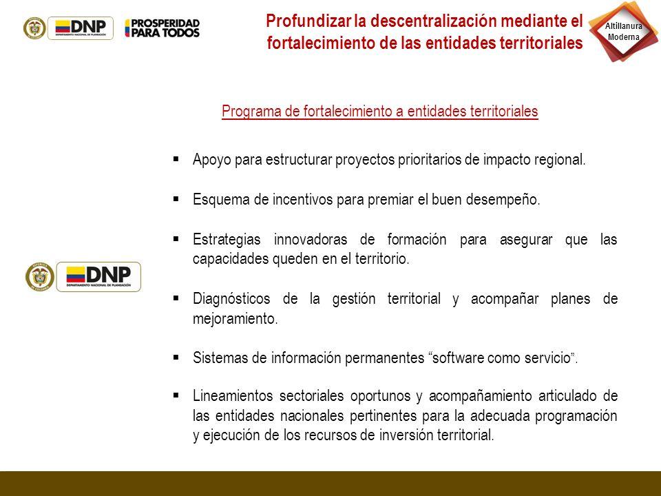 Profundizar la descentralización mediante el fortalecimiento de las entidades territoriales