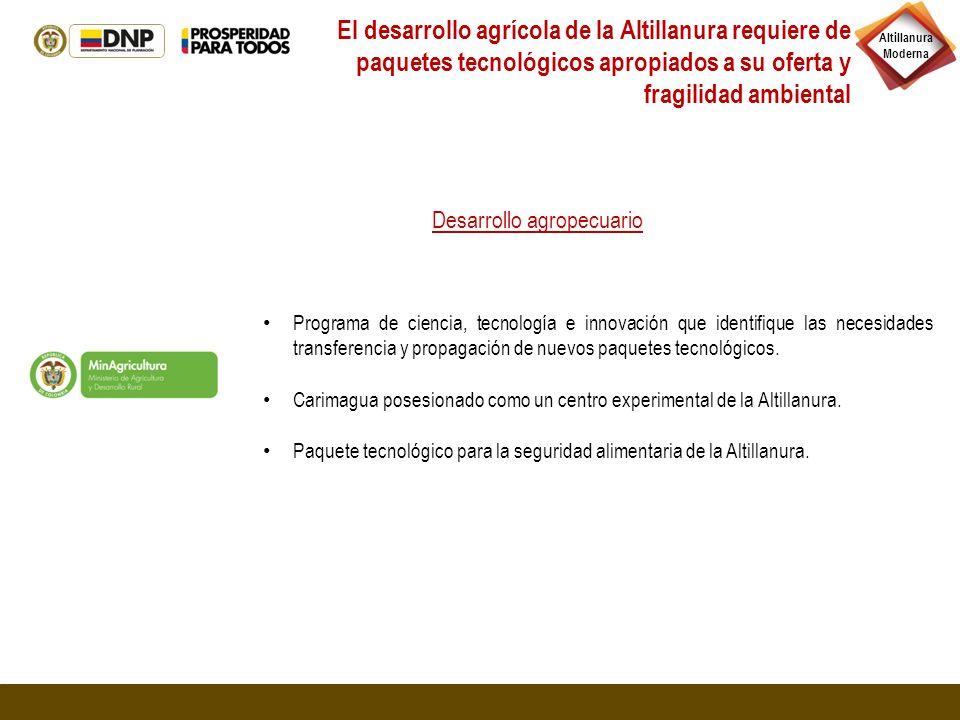 El desarrollo agrícola de la Altillanura requiere de paquetes tecnológicos apropiados a su oferta y fragilidad ambiental