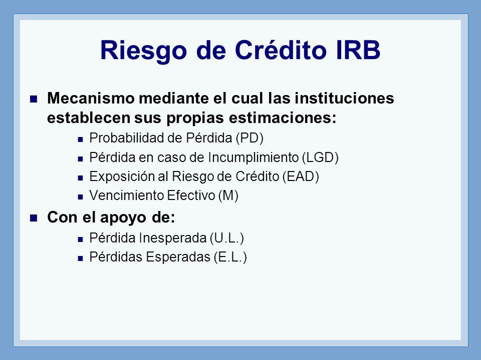 Riesgo de Crédito IRB Mecanismo mediante el cual las instituciones establecen sus propias estimaciones: