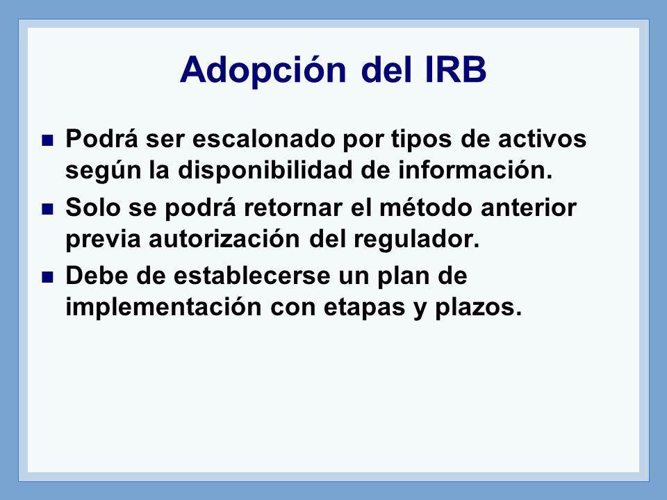 Adopción del IRB Podrá ser escalonado por tipos de activos según la disponibilidad de información.