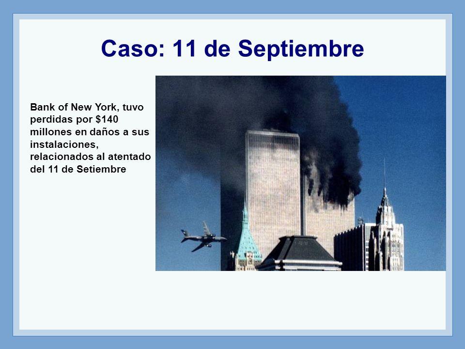 Caso: 11 de Septiembre Bank of New York, tuvo perdidas por $140 millones en daños a sus instalaciones, relacionados al atentado del 11 de Setiembre.