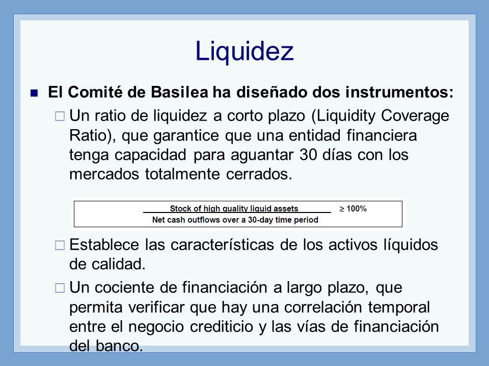 Liquidez El Comité de Basilea ha diseñado dos instrumentos:
