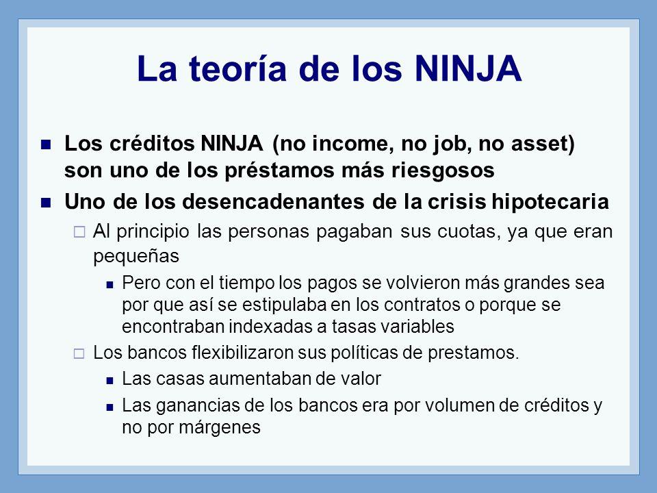 La teoría de los NINJA Los créditos NINJA (no income, no job, no asset) son uno de los préstamos más riesgosos.