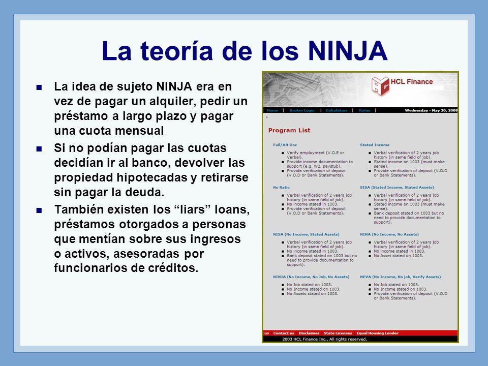 La teoría de los NINJA La idea de sujeto NINJA era en vez de pagar un alquiler, pedir un préstamo a largo plazo y pagar una cuota mensual.