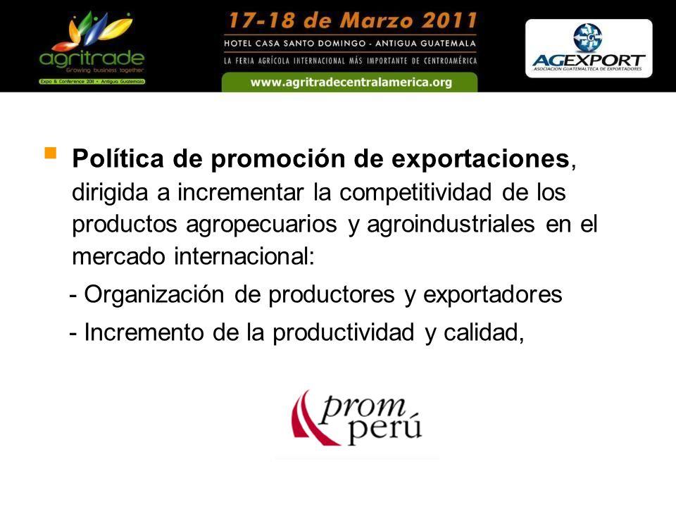 Política de promoción de exportaciones, dirigida a incrementar la competitividad de los productos agropecuarios y agroindustriales en el mercado internacional: