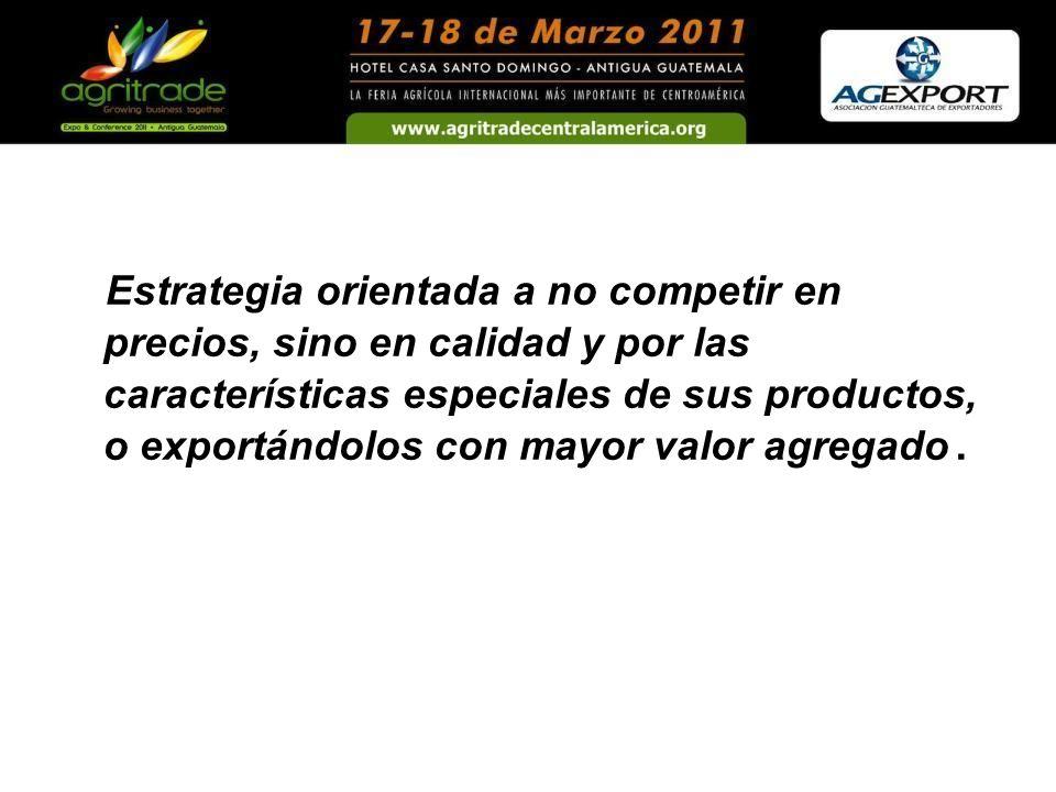 Estrategia orientada a no competir en precios, sino en calidad y por las características especiales de sus productos, o exportándolos con mayor valor agregado.