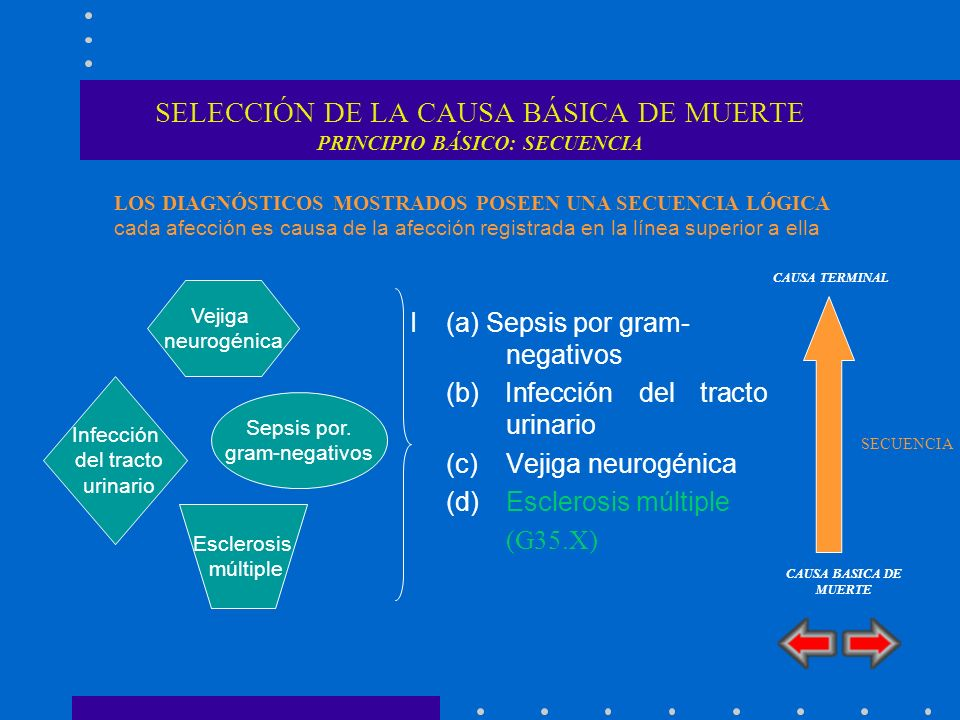 SELECCIÓN DE LA CAUSA BÁSICA DE MUERTE PRINCIPIO BÁSICO: SECUENCIA