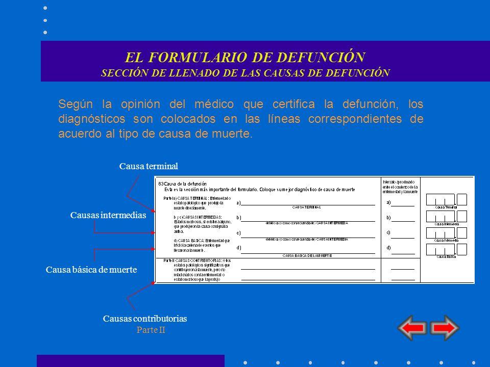 EL FORMULARIO DE DEFUNCIÓN SECCIÓN DE LLENADO DE LAS CAUSAS DE DEFUNCIÓN