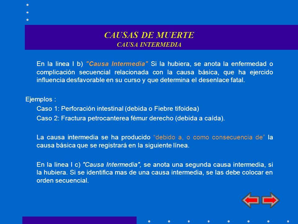 CAUSAS DE MUERTE CAUSA INTERMEDIA