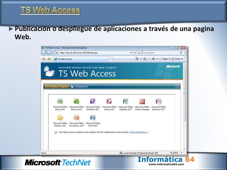 TS Web Access Publicación o despliegue de aplicaciones a través de una pagina Web.