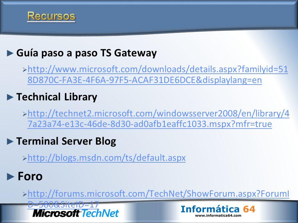 Foro Recursos Guía paso a paso TS Gateway Technical Library