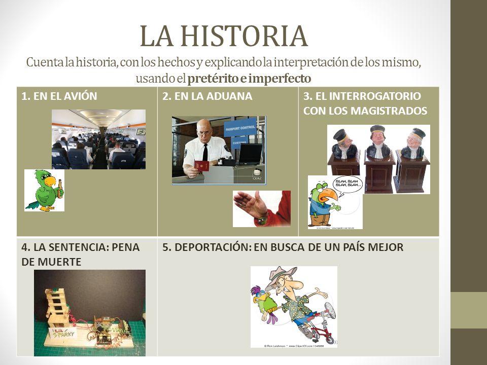 LA HISTORIA Cuenta la historia, con los hechos y explicando la interpretación de los mismo, usando el pretérito e imperfecto