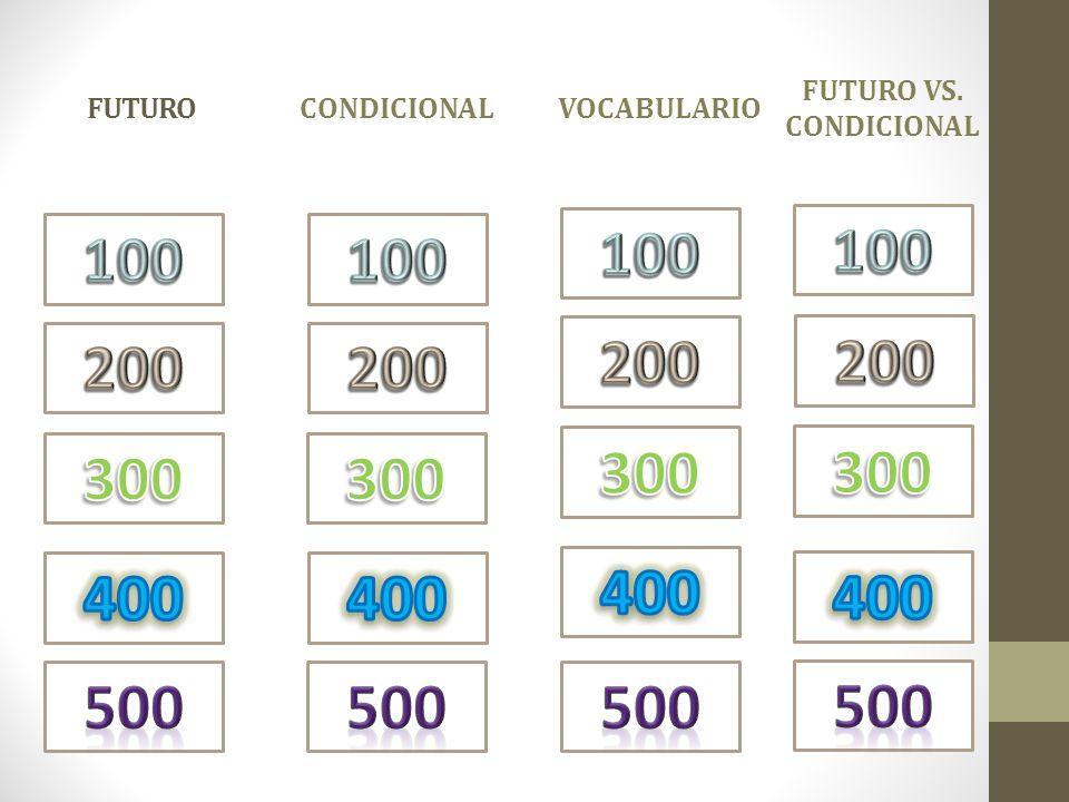 Condicional FUTURO. vocabulario. FUTURO VS. CONDICIONAL. 100. 100. 100. 100. 200. 200. 200.