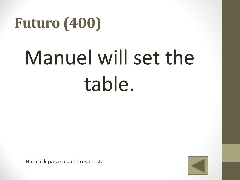 Manuel will set the table.