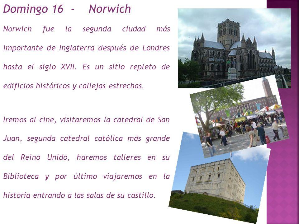Norwich fue la segunda ciudad más importante de Inglaterra después de Londres hasta el siglo XVII. Es un sitio repleto de edificios históricos y callejas estrechas.