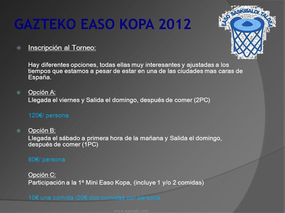 GAZTEKO EASO KOPA 2012 Inscripción al Torneo: