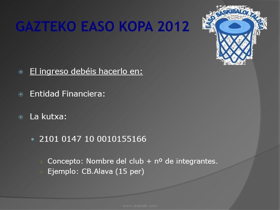 GAZTEKO EASO KOPA 2012 El ingreso debéis hacerlo en: