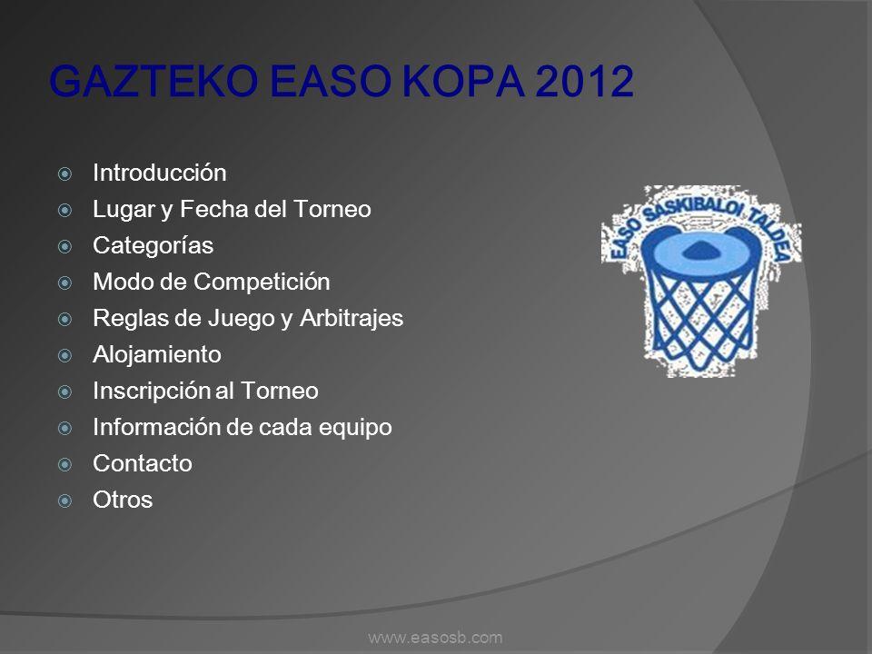 GAZTEKO EASO KOPA 2012 Introducción Lugar y Fecha del Torneo