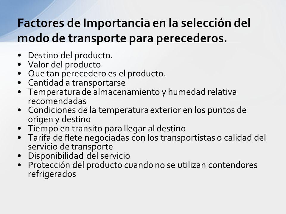 Factores de Importancia en la selección del modo de transporte para perecederos.