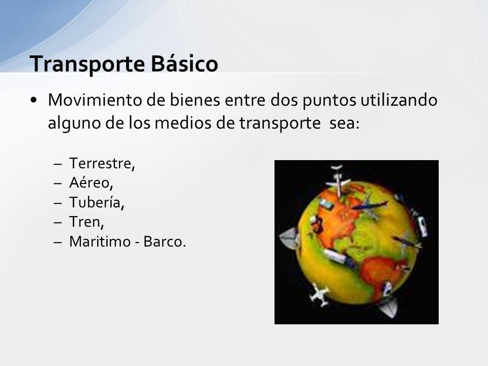 Transporte Básico Movimiento de bienes entre dos puntos utilizando alguno de los medios de transporte sea: