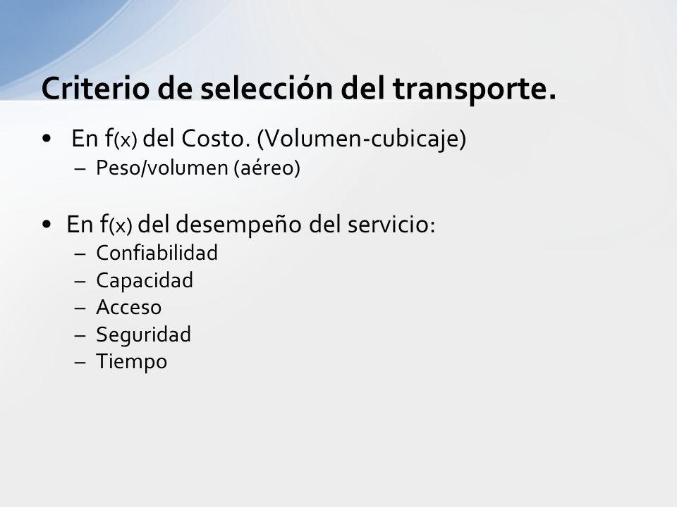 Criterio de selección del transporte.