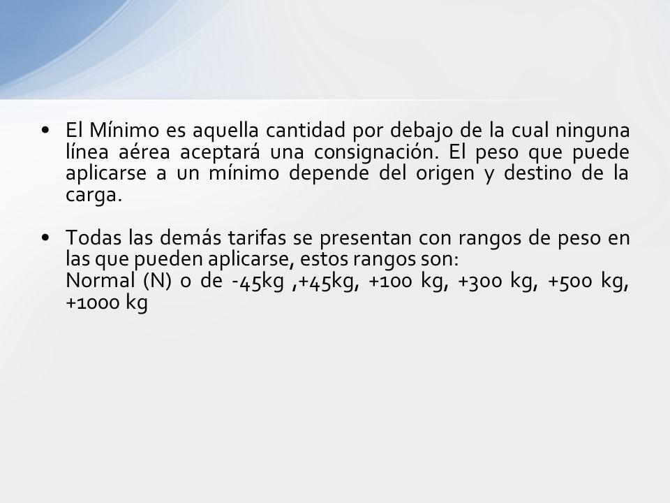 El Mínimo es aquella cantidad por debajo de la cual ninguna línea aérea aceptará una consignación. El peso que puede aplicarse a un mínimo depende del origen y destino de la carga.