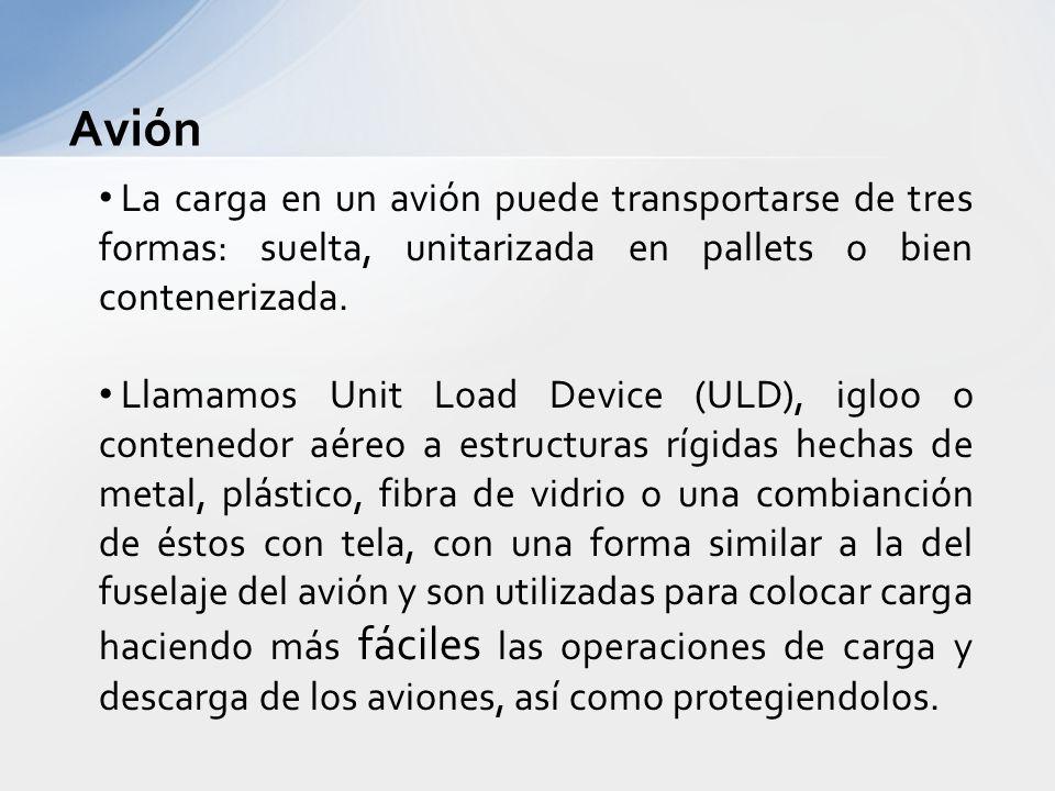 Avión La carga en un avión puede transportarse de tres formas: suelta, unitarizada en pallets o bien contenerizada.