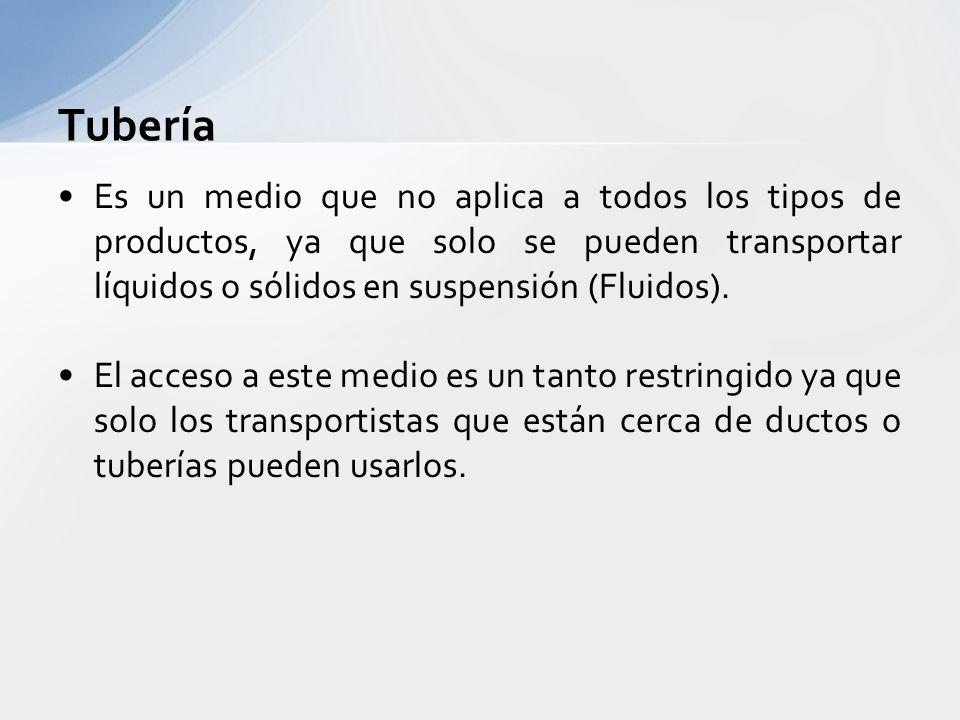 Tubería Es un medio que no aplica a todos los tipos de productos, ya que solo se pueden transportar líquidos o sólidos en suspensión (Fluidos).