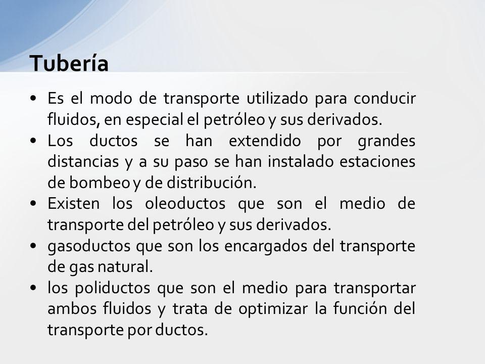 Tubería Es el modo de transporte utilizado para conducir fluidos, en especial el petróleo y sus derivados.