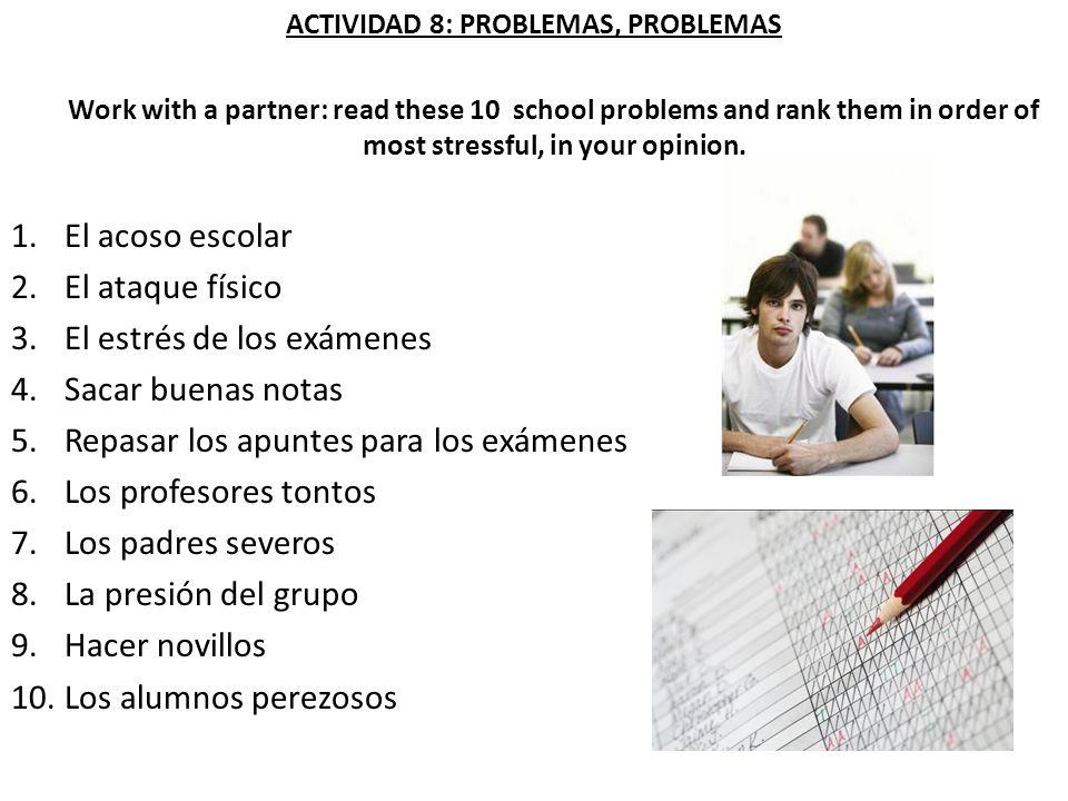 ACTIVIDAD 8: PROBLEMAS, PROBLEMAS