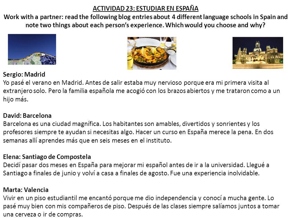 ACTIVIDAD 23: ESTUDIAR EN ESPAÑA