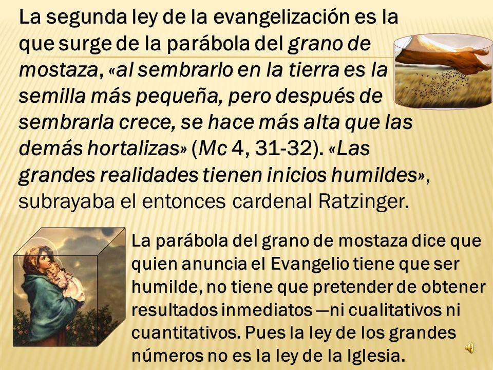 La segunda ley de la evangelización es la que surge de la parábola del grano de mostaza, «al sembrarlo en la tierra es la semilla más pequeña, pero después de sembrarla crece, se hace más alta que las demás hortalizas» (Mc 4, 31-32). «Las grandes realidades tienen inicios humildes», subrayaba el entonces cardenal Ratzinger.