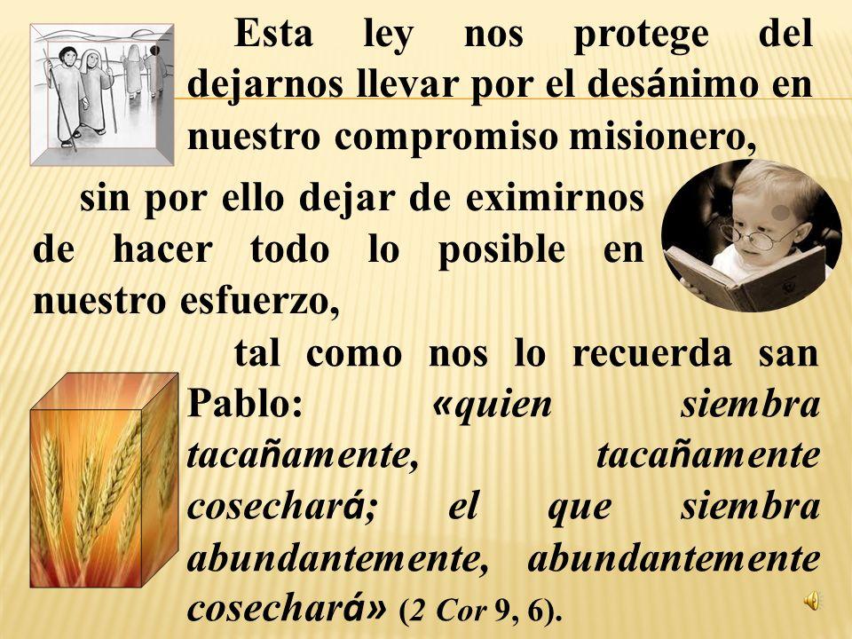 Esta ley nos protege del dejarnos llevar por el desánimo en nuestro compromiso misionero,