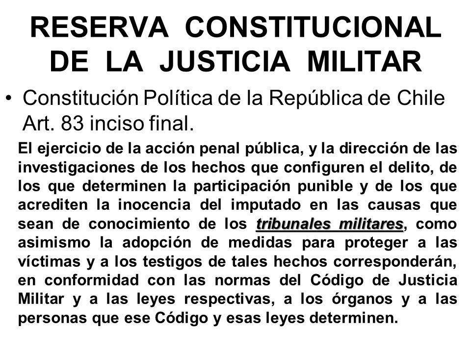 RESERVA CONSTITUCIONAL DE LA JUSTICIA MILITAR