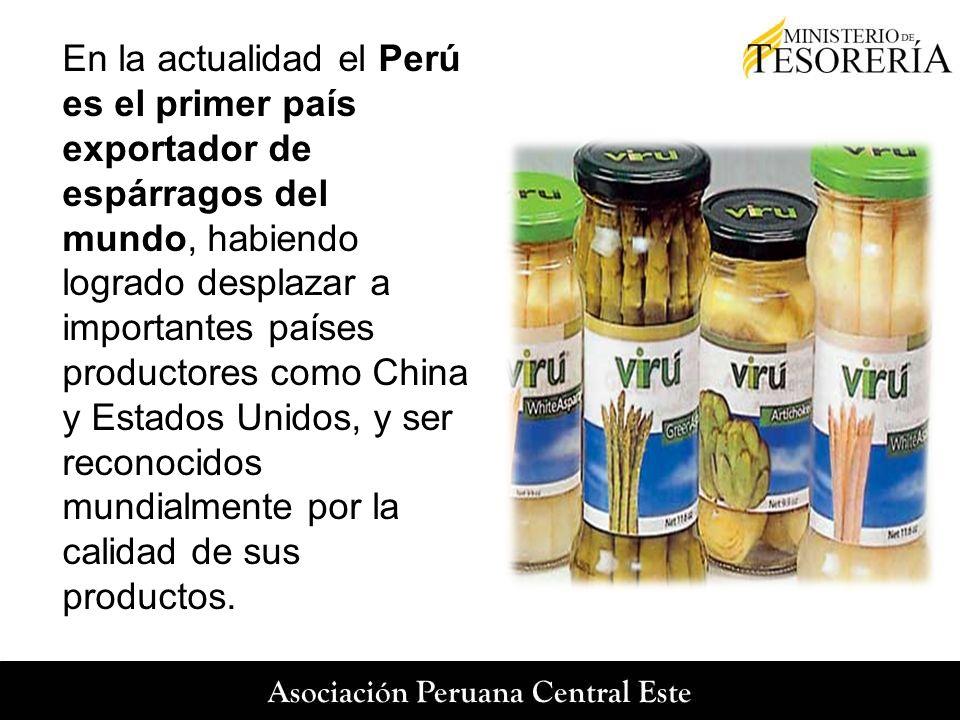 En la actualidad el Perú es el primer país exportador de espárragos del mundo, habiendo logrado desplazar a importantes países productores como China y Estados Unidos, y ser reconocidos mundialmente por la calidad de sus productos.