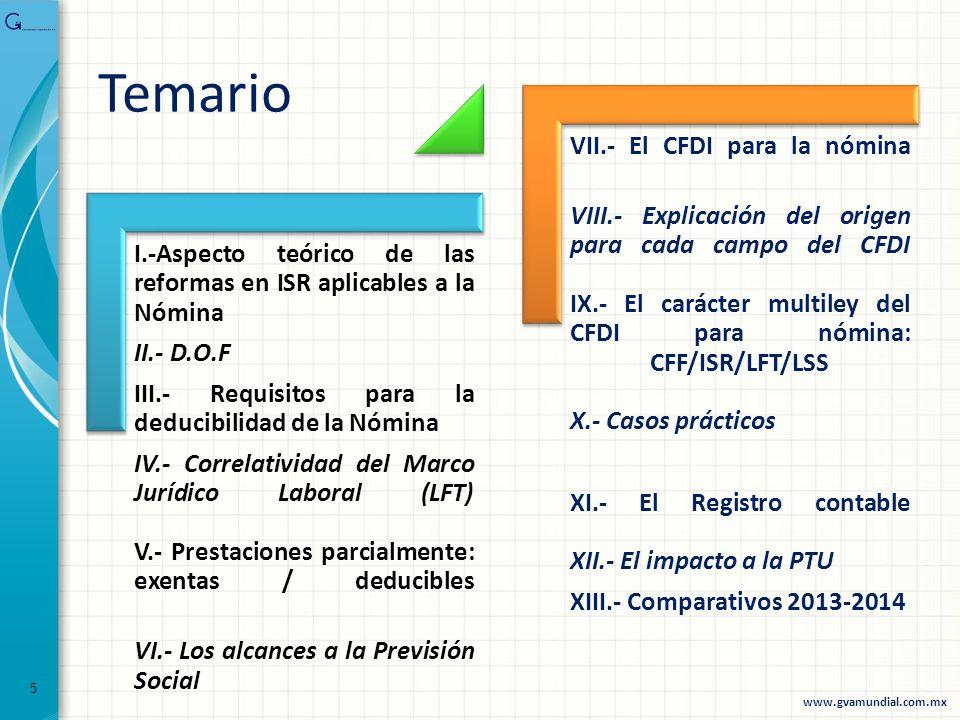 I.-Aspecto teórico de las reformas en ISR aplicables a la Nómina