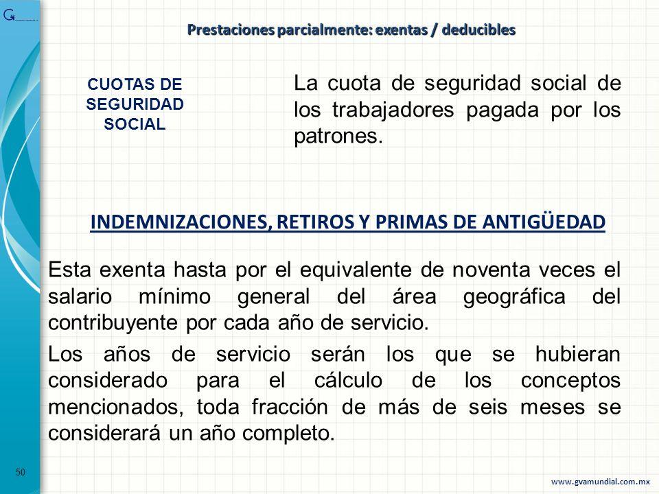 INDEMNIZACIONES, RETIROS Y PRIMAS DE ANTIGÜEDAD