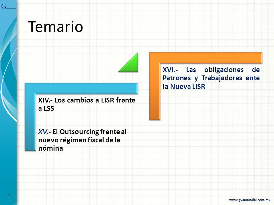 Temario XIV.- Los cambios a LISR frente a LSS. XV.- El Outsourcing frente al nuevo régimen fiscal de la nómina.
